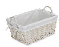"""9"""" x 12"""" Rectangular White Willow Basket With Fabric Liner and Handles"""