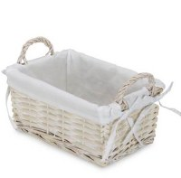 """7"""" x 11"""" Rectangular White Willow Basket With Fabric Liner and Handles"""