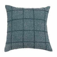 """20"""" Square Blue Woven Cotton Embroidered Grid Pillow"""