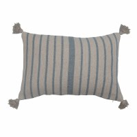 """16"""" x 24"""" Blue and White Striped Recycled Cotton Lumbar Pillow With Tassels"""