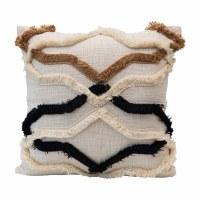 "20"" Square Cream, Brown and Black Appliqued Fringe Cotton Pillow"