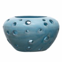 "8"" Round Aqua Ceramic With Holes Votive Candle Holder"
