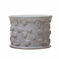 "7"" Round White Pebble Textured Ceramic Pillar Candle Holder"