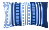 """12"""" x 20"""" Light and Dark Blue Squares and Stripes Outdoor Pillow"""