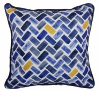 """17"""" Square Dark Blue and Yellow Herringbone Outdoor Pillow With Piping"""