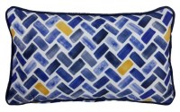 """12"""" x 20"""" Dark Blue and Yellow Herringbone Outdoor Pillow With Piping"""