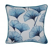 """17"""" Square Blue and White Gingko Leaves Outdoor Pillow With Piping"""