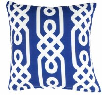 """17"""" Square Navy and White Link Pattern Outdoor Pillow"""