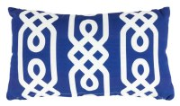 """12"""" x 20"""" Navy and White Link Pattern Outdoor Pillow"""