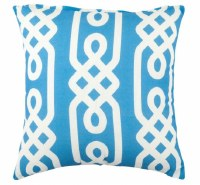 """17"""" Square Aqua and White Link Pattern Outdoor Pillow"""