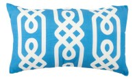 """12"""" x 20"""" Aqua and White Link Pattern Outdoor Pillow"""