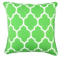 """17"""" Square Lime Tiles Outdoor Pillow With Matching Piping"""