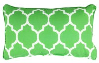 """12"""" x 20"""" Lime Tiles Outdoor Pillow With Matching Piping"""