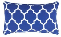 """12"""" x 20"""" Blue Tiles Outdoor Pillow With Matching Piping"""