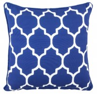 """17"""" Square Blue Tiles Outdoor Pillow With Matching Piping"""