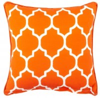 """17"""" Square Orange Tiles Outdoor Pillow With Matching Piping"""