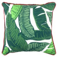 """17"""" Square Green Tropical Leaves Outdoor Pillow With Red Piping"""