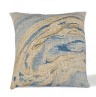 """18"""" Square Blue and Yellow Marble Cotton Pillow"""