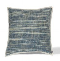 """18"""" Square Light and Dark Blue Woven Cotton Waterfall Pillow With Piping Edge"""