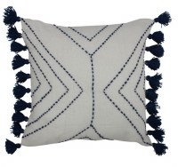"""17"""" Square Ivory With Navy Dash Stitching and Tassels Pillow"""