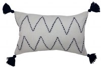 """12"""" x 20"""" Ivory Wth Navy Dash Stitching and Tassels Pillow"""