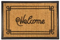 """18"""" x 30"""" Welcome With Border Recycled Rubber and Coir Doormat"""