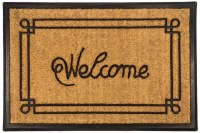 """24"""" x 36"""" Welcome With Border Recycled Rubber and Coir Doormat"""
