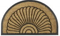 """18"""" x 30"""" Half Round Shell Recycled Rubber and Coir Doormat"""