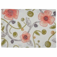 """13"""" x 19"""" Coral Flower Cara Fabric Placemat"""