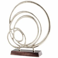 """27"""" Silver Rings Sculpture on a Black Base"""