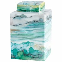 """10"""" Square Green, Blue and Yellow Watercolor Horizon Jar With Top"""