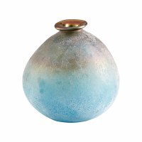 """7"""" Blue and Amber Textured Glass Sea of Dreams Vase"""