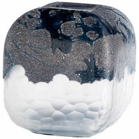 """11"""" Black and Frosted Glass With Etched Texture Bosco Vase"""