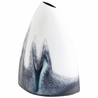 """15"""" White With Dark Blue Marble Glass Mystic Falls Vase"""