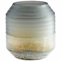 """9"""" Gray and Silver Ribbed Glass Alchemy Vase"""