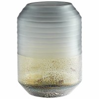 """11"""" Gray and Silver Ribbed Glass Alchemy Vase"""