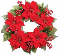 """24"""" Round Faux Red Velvet Poinsettia and Berry Green Pine Wreath"""