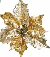 "10"" Two-Toned Gold Poinsettia Clip Ornament"