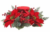 """14"""" Red Velvet Berry and Pine Poinsettia Centerpiece With Red Glass Candle Holder"""