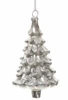 "6"" Silver Glitter Glass Tree Ornament"