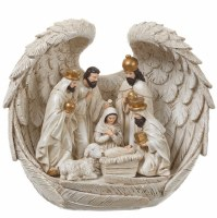 """7"""" Distressed White and Gold Nativity in Angel Wings Table Sculpture"""