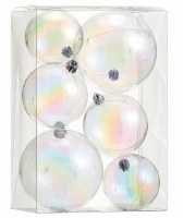Box of 6 Clear Iridescent Plastic Ball Ornaments in Multiple Sizes