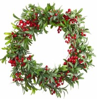 """24"""" Round Faux Red Berry and Green Leaves Wreath"""