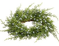"""3"""" Opening Faux Green Juniper With Blue Berries Candle Ring"""
