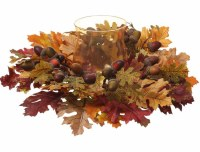 """14"""" Round Faux Burgundy and Yellow Oak Leaf and Acorn Centerpiece With Glass Candle Holder"""