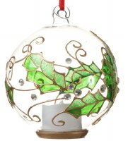"""5"""" Round Clear Green Holly Glass LED Candle Ball Ornament"""