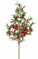 """35"""" Faux Red Berry Green Leaves Spray"""