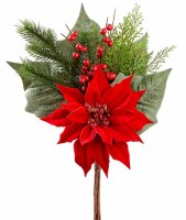 """18"""" Faux Red and Green Velvet Berry and Pine Poinsettia Bundle"""