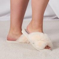 Women's Medium Ivory Furry Slide