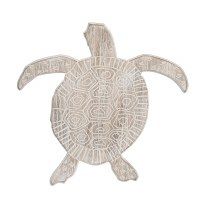 """16"""" Whitewashed Wood Sea Turtle Wall Plaque"""